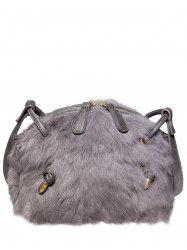 PU Leather Spliced Fuzzy Bag