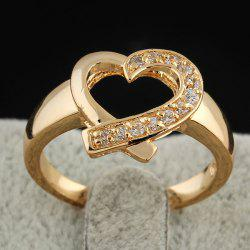 Rhinestone Love Heart Ring