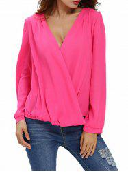 Drapé avant Chiffon Top - Rose