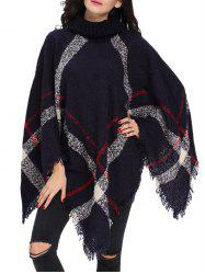 Turtleneck Fringed Knit Poncho