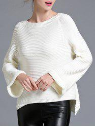 Flare Sleeve High Low Pullover Sweater -