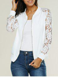 Lace Insert Bomber Zip Up Jacket - WHITE
