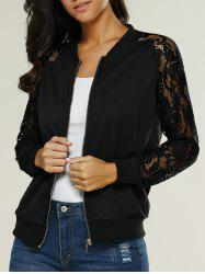 Lace Insert Bomber Zip Up Jacket - BLACK
