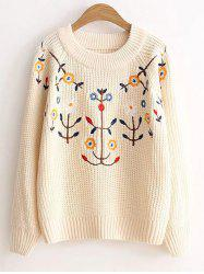 Floral Embroidered Vintage Sweater -