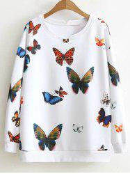 Loose Butterfly Colorful Sweatshirt - WHITE 2XL