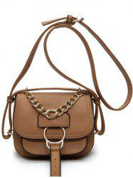 Metal Ring Chain PU Leather Crossbody Bag -