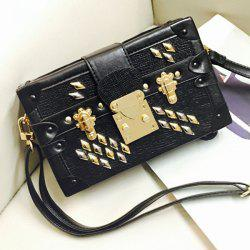 Metal Rivets Square Shape Crossbody Bag