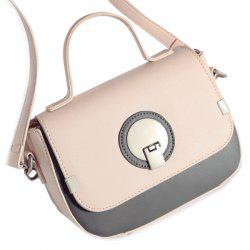 Color Spliced Metal PU Leather Crossbody Bag -