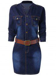Buttoned Long Sleeve Plus Size Denim Dress - BLUE