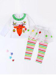 Girls Elk Print T-Shirt + Striped Pants Kids Christmas Outfits - WHITE