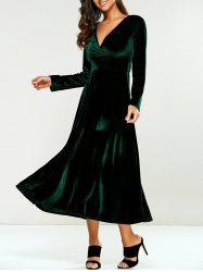 Surplice Velvet Formal Long Evening Dress with Sleeves - GREEN