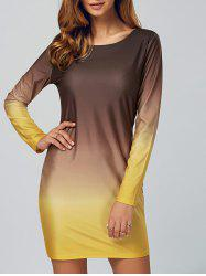 Ombre Slimming Long Sleeve T-Shirt Dress - COFFEE AND YELLOW