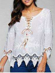 V Neck Lace Up Long Sleeve Lace Blouse