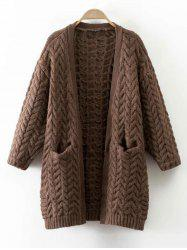 Cable Knit Thickening Cardigan - COFFEE