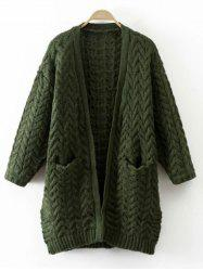 Cable Knit Thickening Cardigan - GREEN