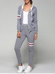 Striped Zip Up Hoodie and Joggers Pants - GRAY