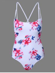 Strappy Floral Print One-Piece Swimsuit