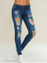 Skinny Ripped Pencil Jeans - BLUE