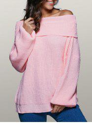 Lantern Sleeve Off The Shoulder Sweater - PINK