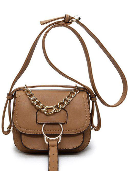 Outfits Metal Ring Chain PU Leather Crossbody Bag