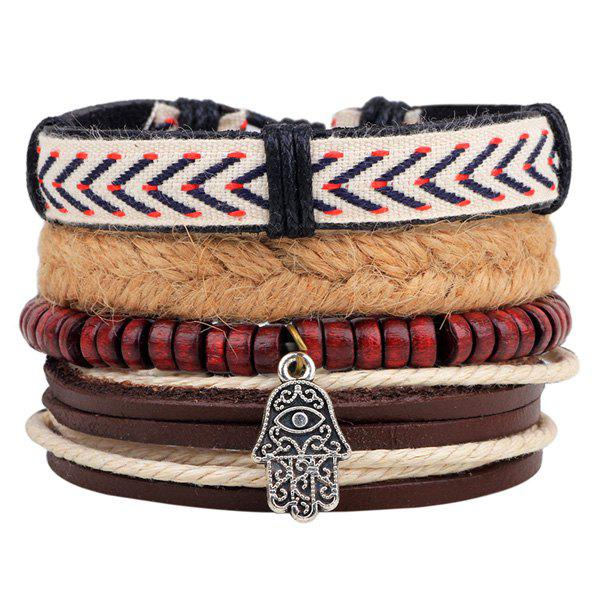 Layered Palm Bead Braided BraceletJEWELRY<br><br>Color: BROWN; Item Type: Wrap Bracelet; Gender: For Men; Chain Type: Rope Chain; Style: Trendy; Shape/Pattern: Others; Weight: 0.050kg; Package Contents: 1 x Bracelets (Suit);