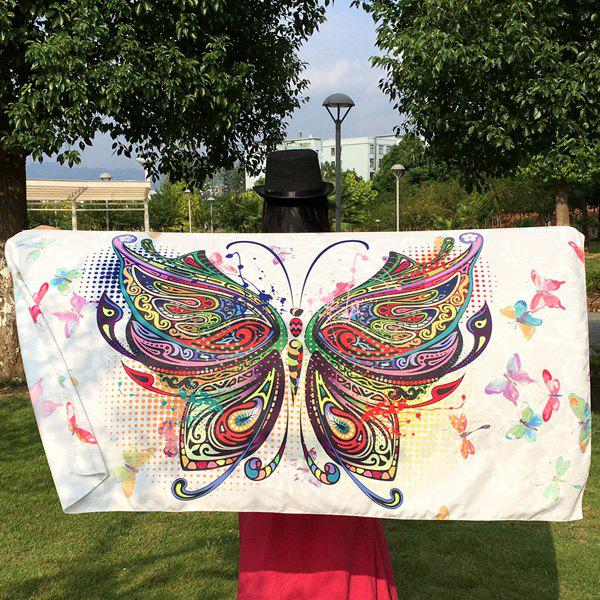 Colorful Butterfly Rectangle ScarfACCESSORIES<br><br>Color: WHITE; Scarf Type: Scarf; Group: Adult; Gender: For Women; Style: Fashion; Material: Polyester; Season: Fall,Spring,Summer,Winter; Scarf Length: 147CM; Scarf Width (CM): 80CM; Weight: 0.150kg; Package Contents: 1 x Scarf;