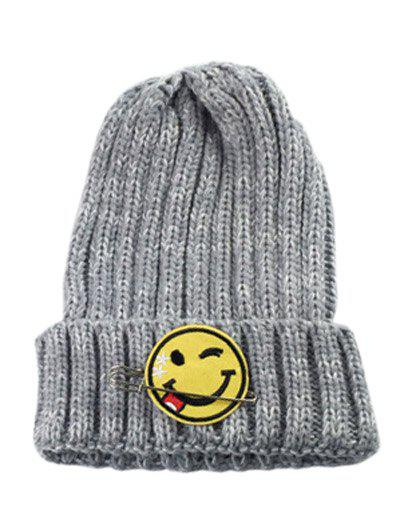 Trendy Winter Smile Face Safety Pin Knitted Hat 9e8ec2785124