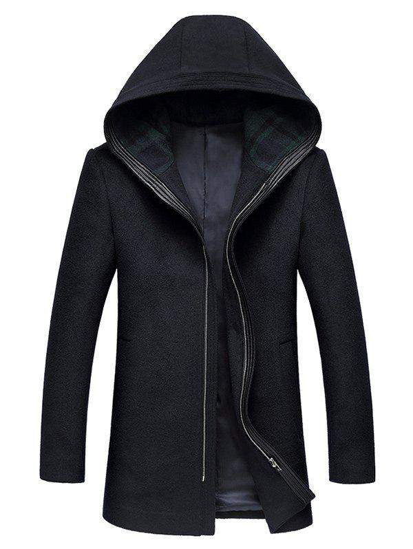 Outfits Hooded Zip Up Longline Wool Coat