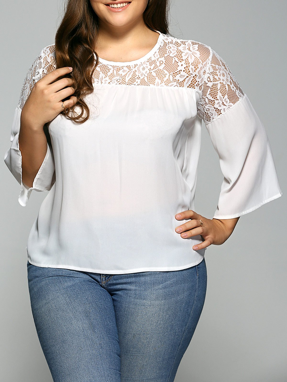 7f0cf52a6ee Unique Lace Spliced Plus Size Chiffon Sheer Blouse