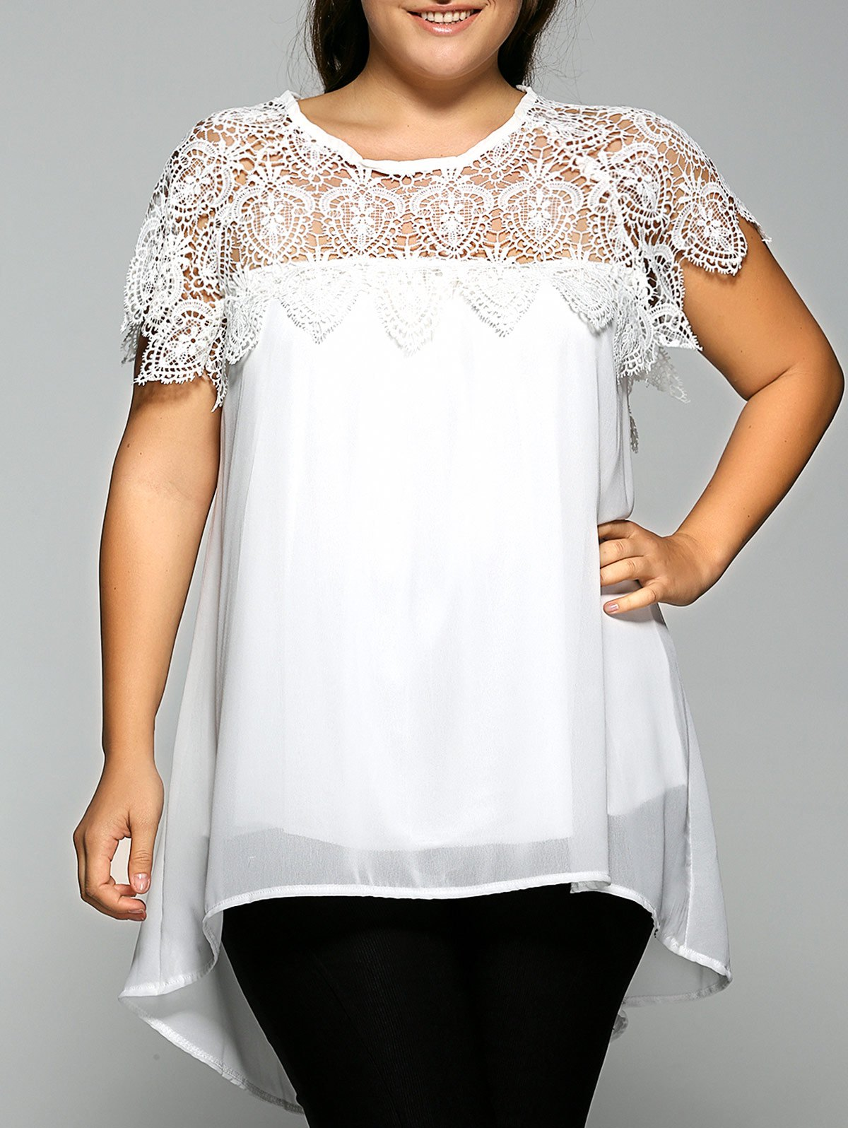 Lace Spliced Plus Size Chiffon High Low BlouseWOMEN<br><br>Size: 4XL; Color: WHITE; Material: Cotton Blends; Fabric Type: Chiffon; Shirt Length: Regular; Sleeve Length: Short; Collar: Round Neck; Style: Casual; Season: Fall,Summer; Embellishment: Lace; Pattern Type: Floral; Weight: 0.234kg; Package Contents: 1 x Blouse;