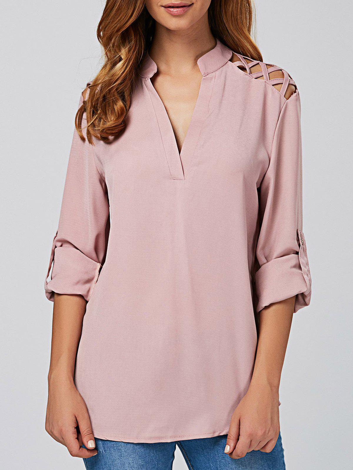 Online Cut Out V Neck Tunic Blouse