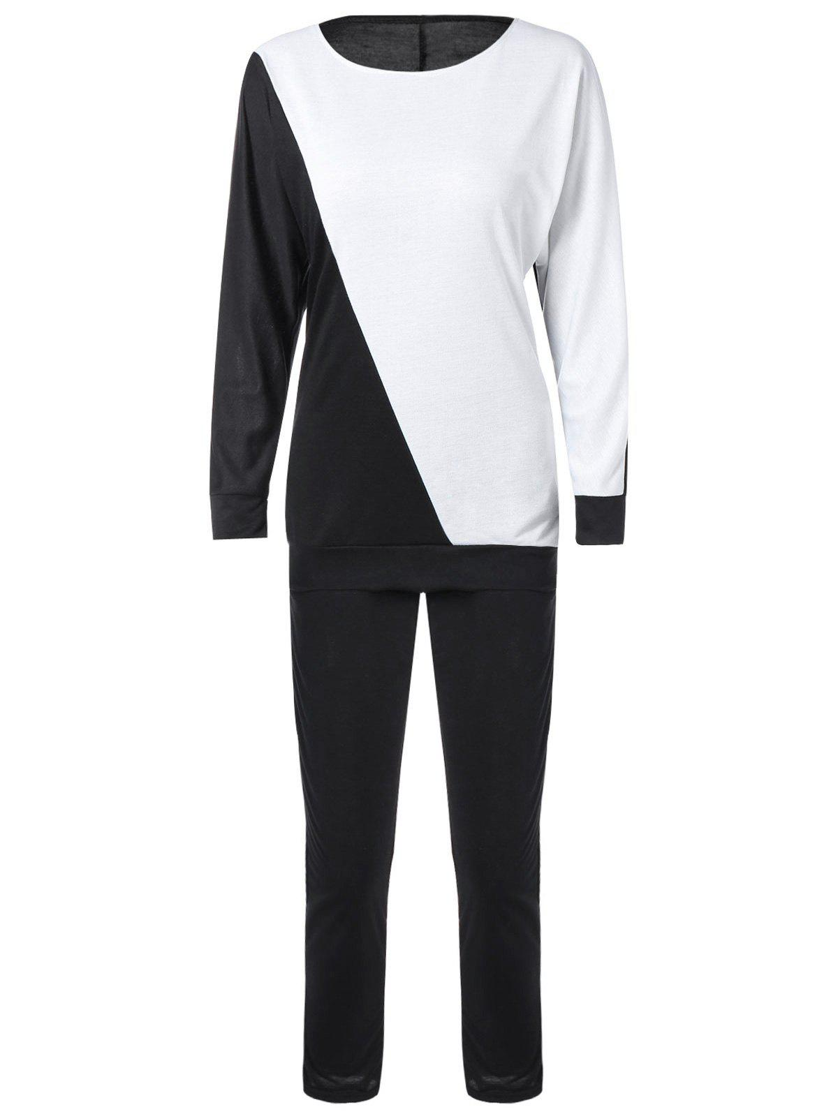 Trendy Long Sleeve Color Block Sweatshirt with Pants