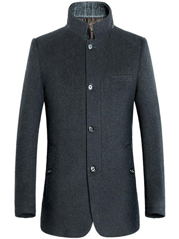 Stand Collar Coat Slimming Single-breasted Woolen