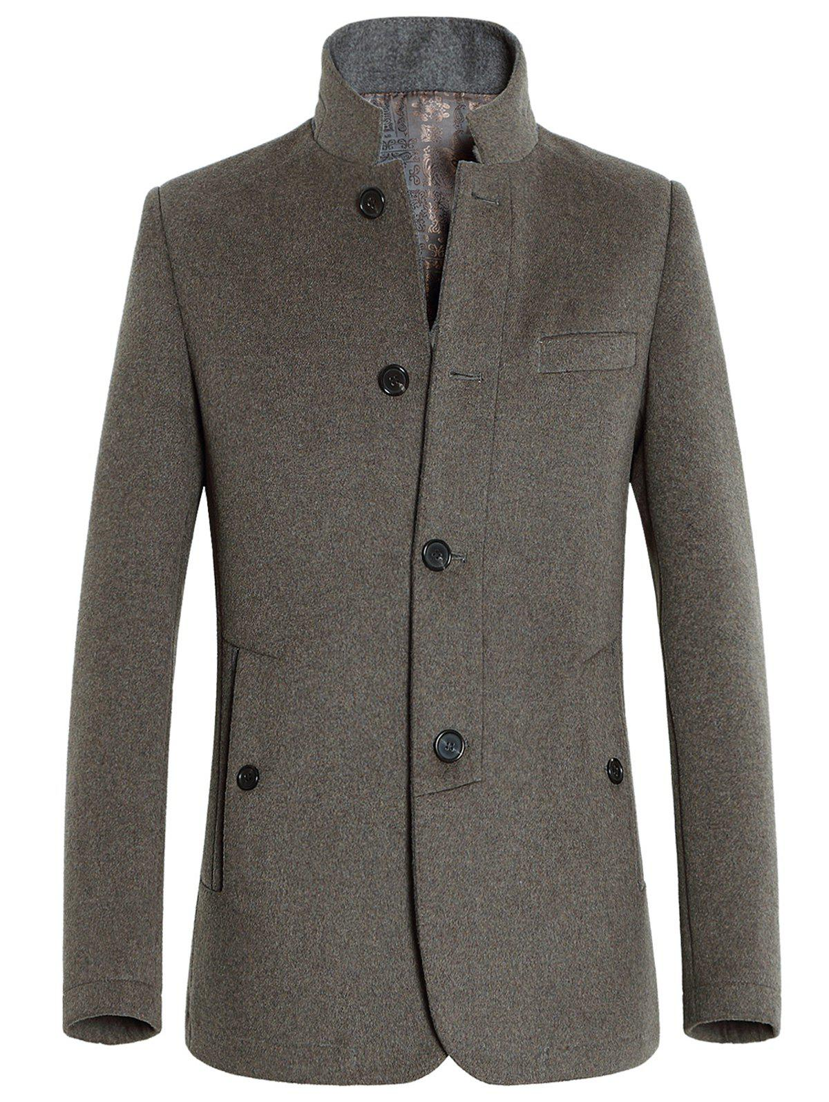 Shop Stand Collar Slimming Single-Breasted Woolen Coat