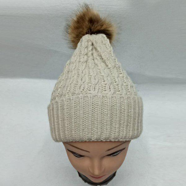 Faux Fur Bobble Cable Knit HatACCESSORIES<br><br>Color: OFF-WHITE; Hat Type: Skullies Beanie; Group: Adult; Gender: For Women; Style: Fashion; Pattern Type: Ball; Material: Acrylic; Weight: 0.129kg; Package Contents: 1 x Hat;