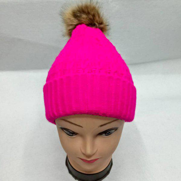 Faux Fur Bobble Cable Knit HatACCESSORIES<br><br>Color: PEACH RED; Hat Type: Skullies Beanie; Group: Adult; Gender: For Women; Style: Fashion; Pattern Type: Ball; Material: Acrylic; Weight: 0.129kg; Package Contents: 1 x Hat;