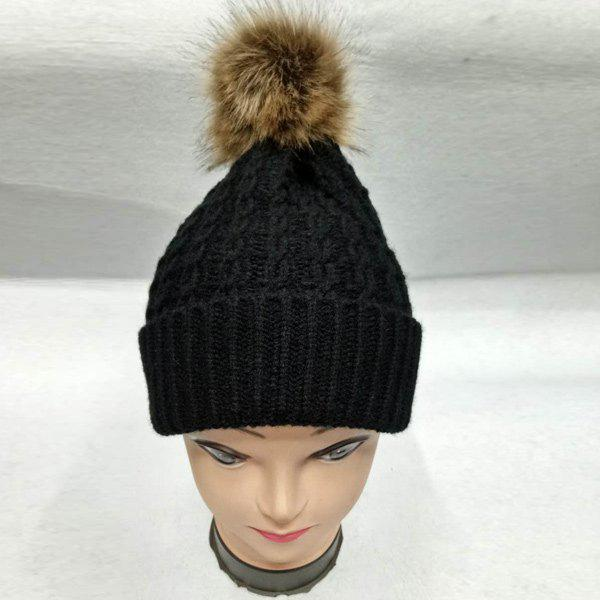 Faux Fur Bobble Cable Knit HatACCESSORIES<br><br>Color: BLACK; Hat Type: Skullies Beanie; Group: Adult; Gender: For Women; Style: Fashion; Pattern Type: Ball; Material: Acrylic; Weight: 0.129kg; Package Contents: 1 x Hat;