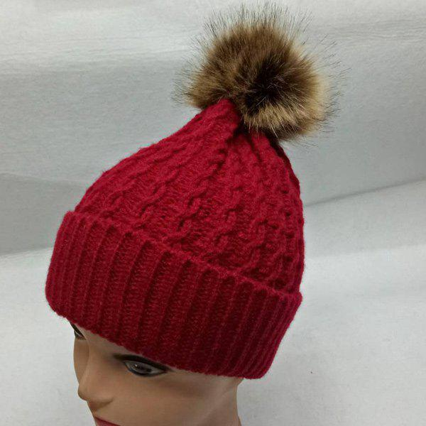 Faux Fur Bobble Cable Knit HatACCESSORIES<br><br>Color: DEEP RED; Hat Type: Skullies Beanie; Group: Adult; Gender: For Women; Style: Fashion; Pattern Type: Ball; Material: Acrylic; Weight: 0.129kg; Package Contents: 1 x Hat;