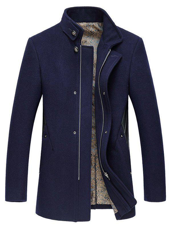 Pied de col Manteau broderie Zip-Up Woolen Cadetblue 2XL