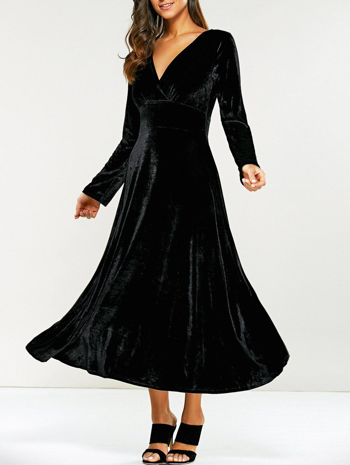 Surplice Velvet Tea Length Long Sleeve DressWOMEN<br><br>Size: 2XL; Color: BLACK; Style: Casual; Material: Polyester; Silhouette: A-Line; Dresses Length: Mid-Calf; Neckline: V-Neck; Sleeve Length: Long Sleeves; Pattern Type: Solid; With Belt: No; Season: Fall,Spring; Weight: 0.570kg; Package Contents: 1 x Dress;