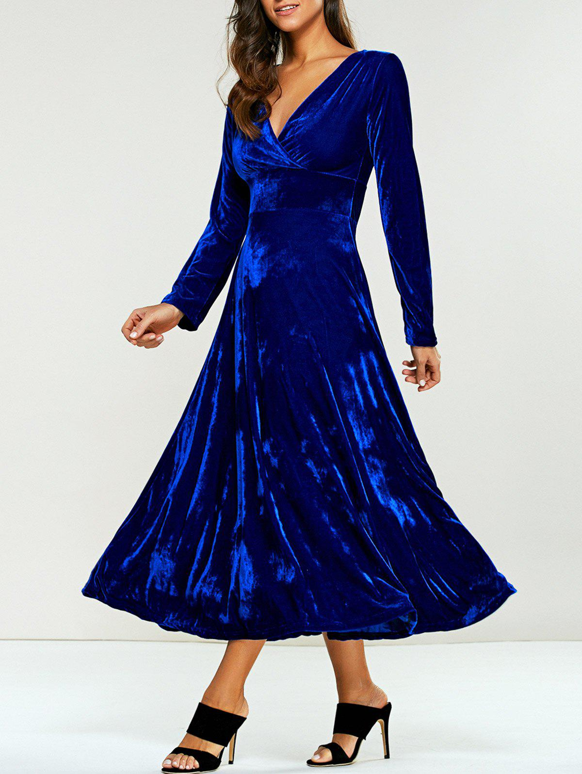 Surplice Velvet Tea Length Long Sleeve DressWOMEN<br><br>Size: 2XL; Color: BLUE; Style: Casual; Material: Polyester; Silhouette: A-Line; Dresses Length: Mid-Calf; Neckline: V-Neck; Sleeve Length: Long Sleeves; Pattern Type: Solid; With Belt: No; Season: Fall,Spring; Weight: 0.570kg; Package Contents: 1 x Dress;