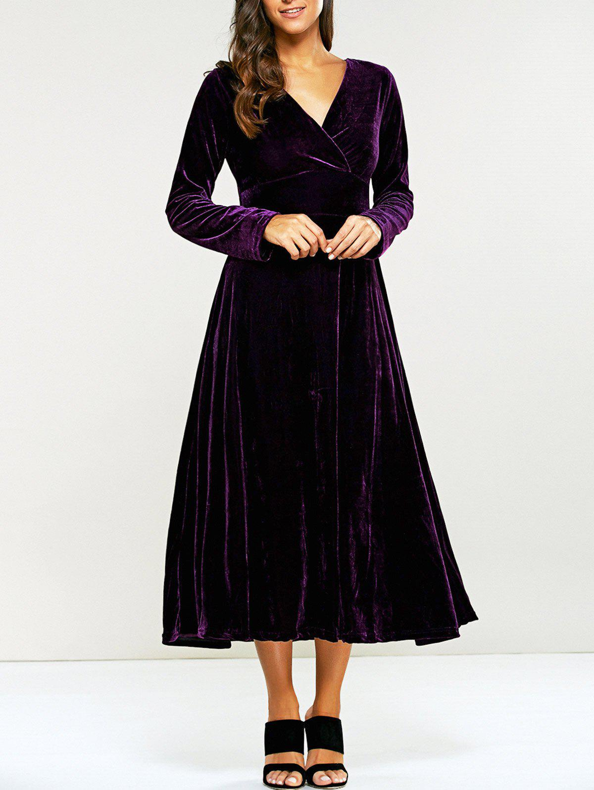 Best Surplice Velvet Tea Length Long Sleeve Dress