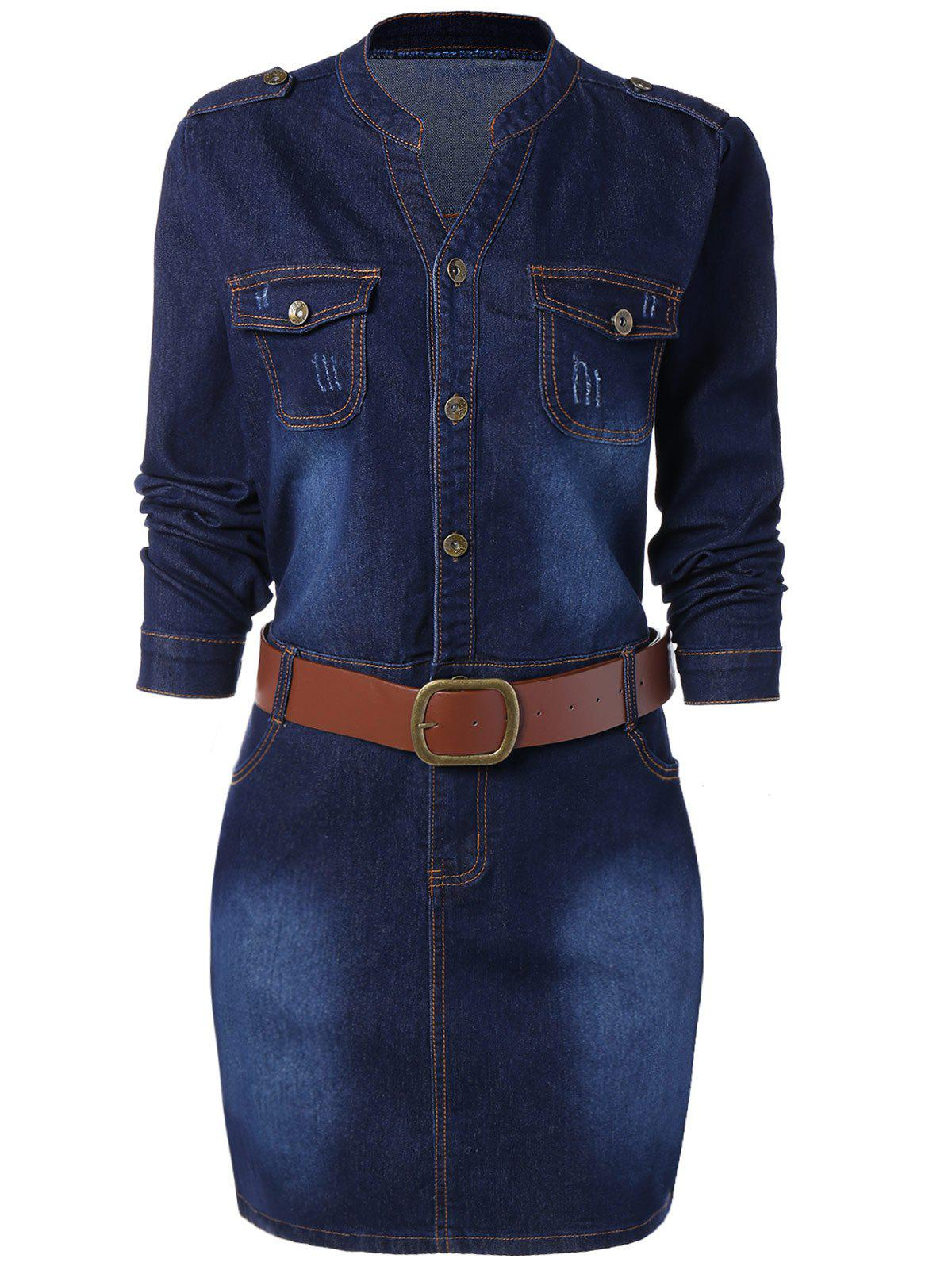Plus Size Fitted Denim Jean Dress with BeltWOMEN<br><br>Size: 3XL; Color: BLUE; Style: Casual; Material: Cotton Blend,Polyester; Fabric Type: Denim; Silhouette: Sheath; Dresses Length: Knee-Length; Neckline: Stand; Sleeve Length: Long Sleeves; Pattern Type: Patchwork; With Belt: Yes; Season: Fall,Spring; Weight: 0.846kg; Package Contents: 1 x Dress  1 x Belt;