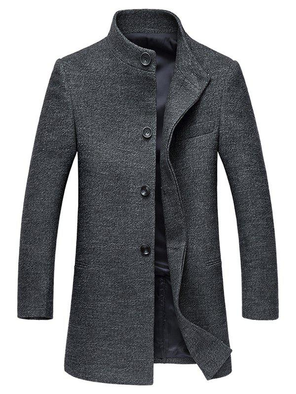 Stand Collar Coat single-breasted Retour Slit Woolen Gris 3XL