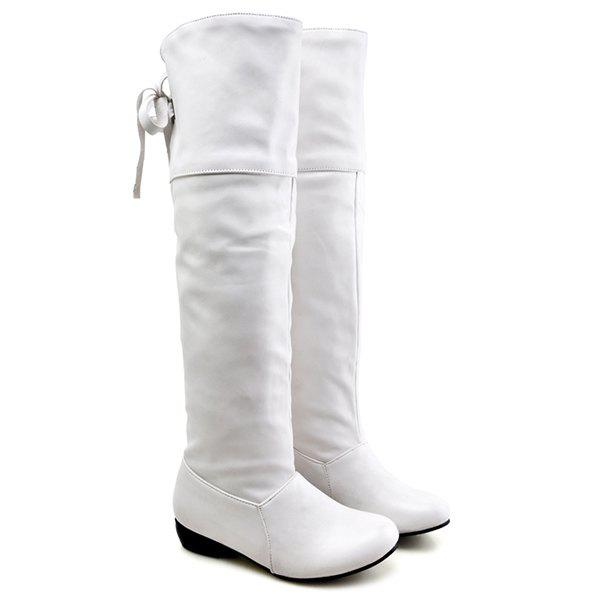5f2a3d29d90 2019 Tie Up Flat Heel Pu Leather Knee High Boots