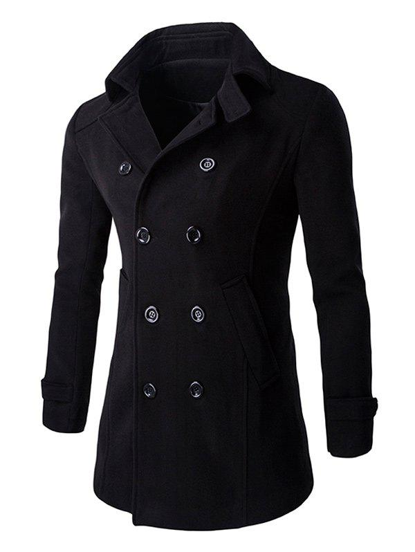 Slim Fit Double Breasted Wool Blend CoatMEN<br><br>Size: M; Color: BLACK; Clothes Type: Wool &amp; Blends; Style: Casual; Material: Cotton Blends,Wool; Collar: Turn-down Collar; Shirt Length: Long; Sleeve Length: Long Sleeves; Season: Winter; Weight: 0.950kg; Package Contents: 1 x Coat;