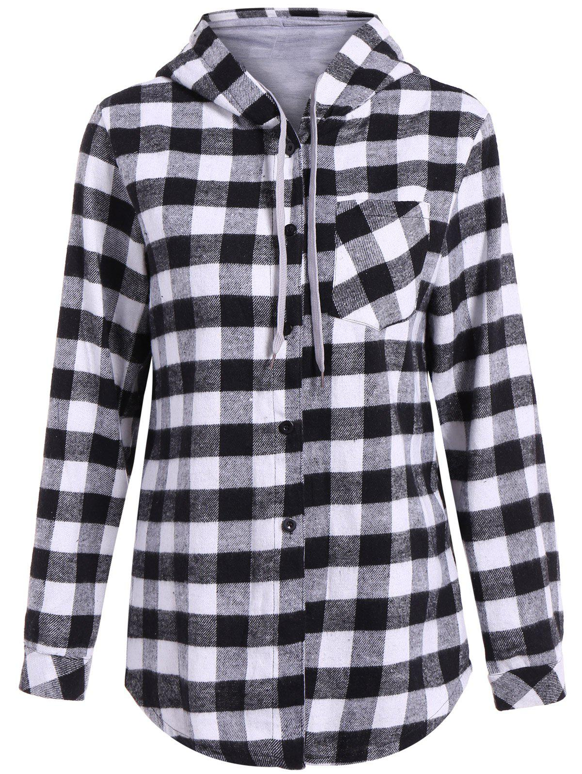 Casual Long Sleeve Hooded Plaid Check ShirtWOMEN<br><br>Size: L; Color: GRAY; Style: Casual; Material: Polyester; Shirt Length: Long; Sleeve Length: Full; Collar: Shirt Collar; Pattern Type: Plaid; Embellishment: Pockets; Season: Fall,Spring; Weight: 0.349kg; Package Contents: 1 x Dress;