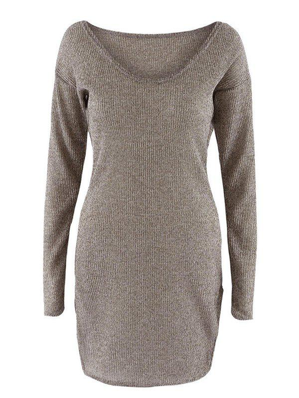 Scoop Neck Long Sleeve Knit DressWOMEN<br><br>Size: M; Color: BROWN; Style: Brief; Material: Spandex; Silhouette: Straight; Dresses Length: Mini; Neckline: Scoop Neck; Sleeve Length: Long Sleeves; Pattern Type: Solid; With Belt: No; Season: Fall,Spring,Winter; Weight: 0.192kg; Package Contents: 1 x Dress;