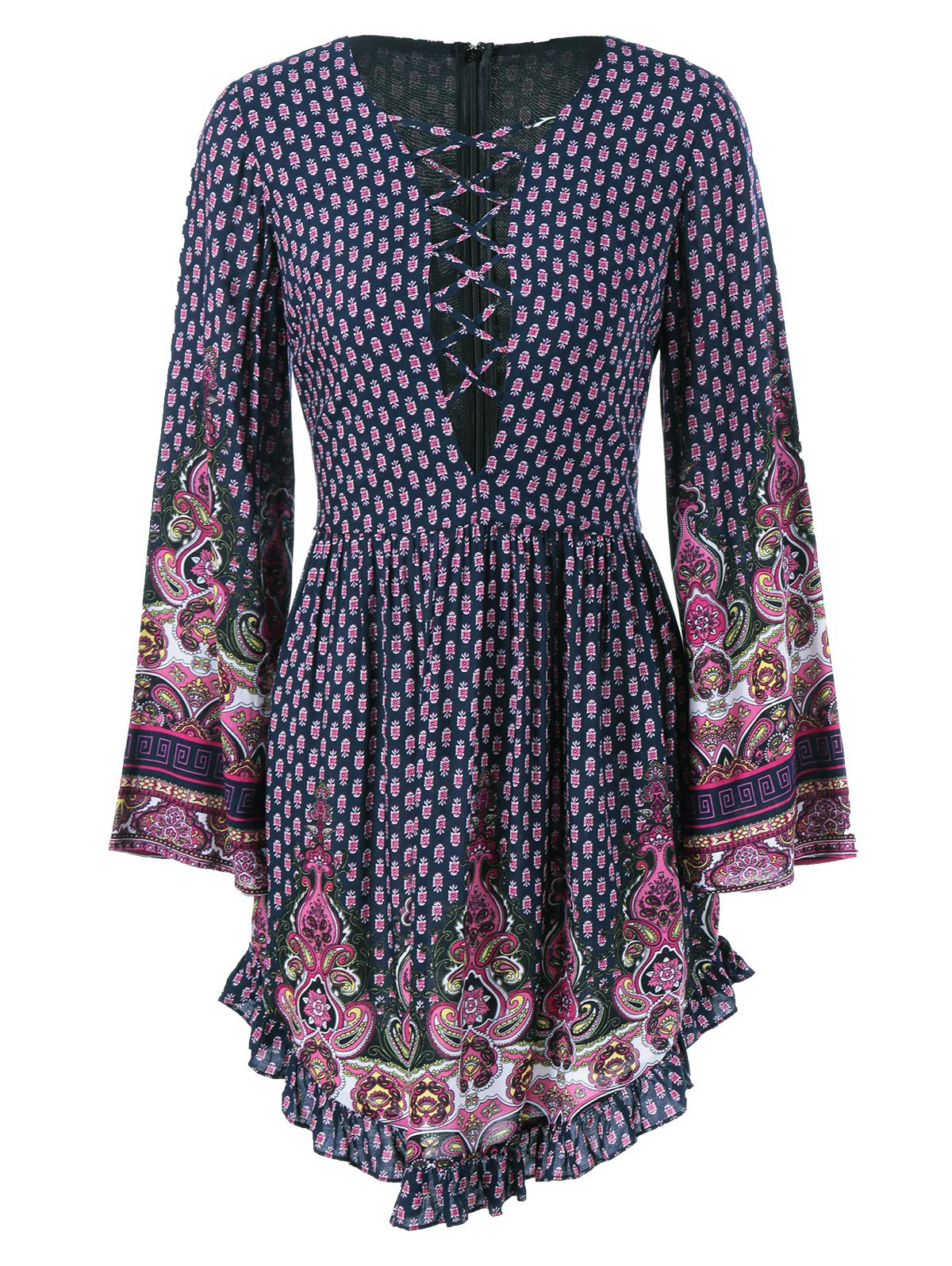 Outfits Ethnic Lace-Up Tiny Floral Dress