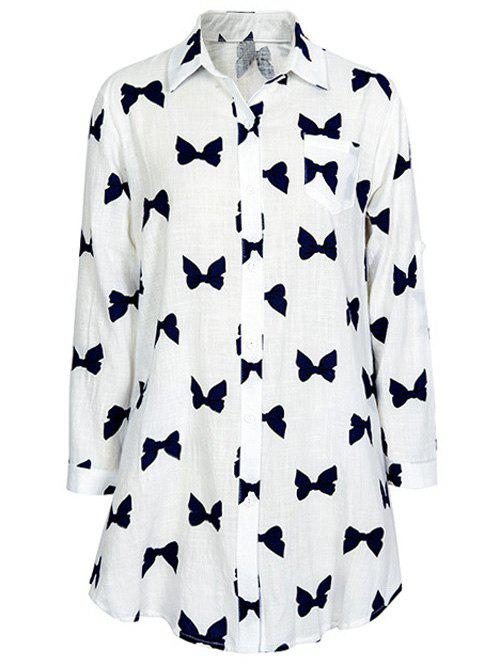 Fancy Bowknot Print Long Sleeve Shirt